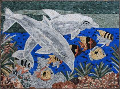 AN648 Under the Sea Ocean Life Dolphins Fish  Mosaic