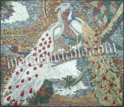 AN659 Peacocks with long feather tails Mosaic