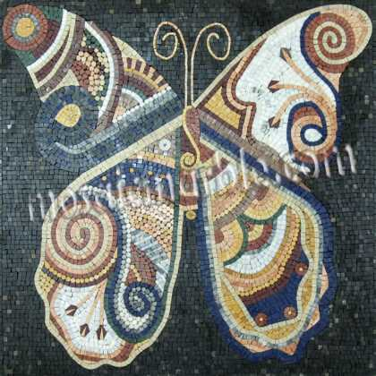 AN666 Big colorful stone tile butterfly Mosaic