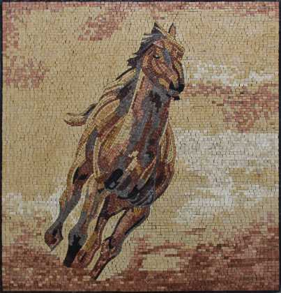 AN678 Beautiful golden colors horse Mosaic