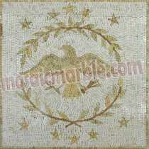 AN686 Golden eagle emblem on white background Mosaic