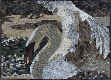 AN691 Majestic white swan opening its wings Mosaic