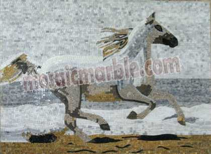 AN693 Beautiful galloping white horse mosaic