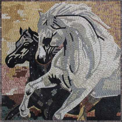 AN713 Horses Black and White Handmade  Mosaic