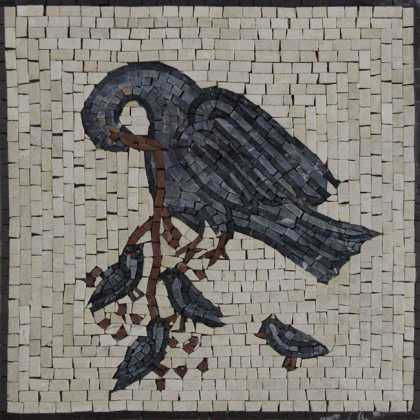 AN728 Grey mother bird and baby birds mosaic