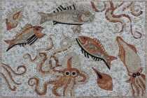 AN764 White & red mixed sea life Mosaic