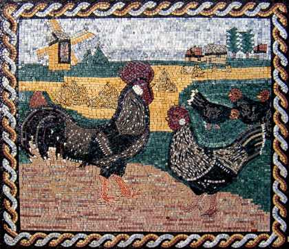 AN77 Roosters landscape Mosaic