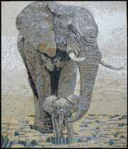 Mother and Baby Elephant Mosaic