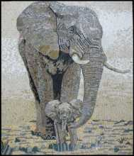 AN773 Mother and baby elephants mosaic