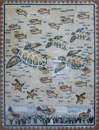 AN813 Sea turtles and fish Mosaic
