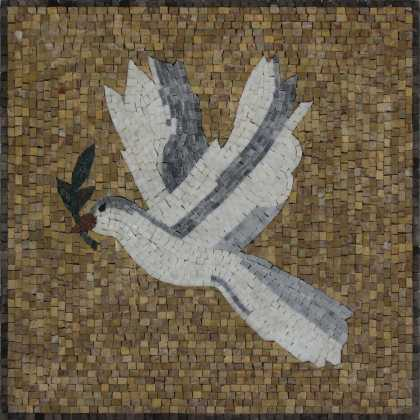 Dove on yellow background Mosaic