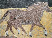 AN83 Brown horse Mosaic