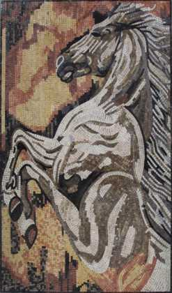 Wall Mosaic Mural Strong & Wild White Horse