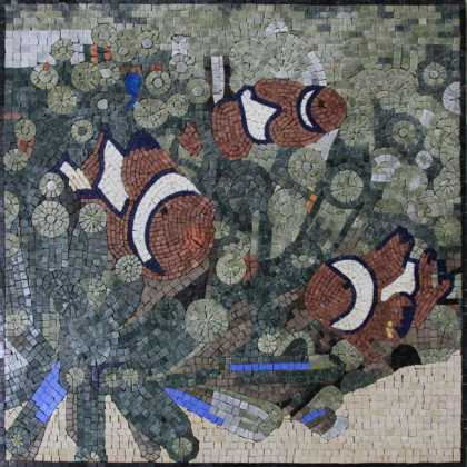 AN849 Red & white fish group Mosaic