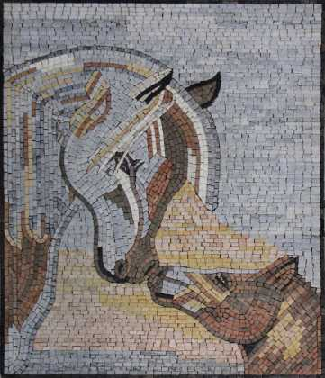 AN852 Mother & baby kissing horses Mosaic