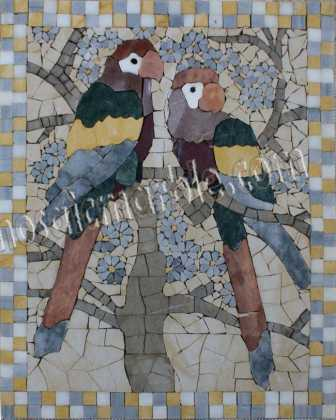 AN858 Colorful parrots and flowers stone Mosaic