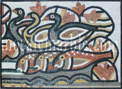 AN872 Ducks & fish stone Mosaic