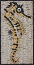 AN913 Seahorse Facing Right Mini Wall Mural Marble Mosaic