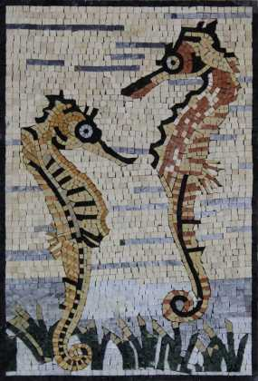 AN926 Seahorse Love in Water Mosaic