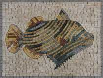 AN931 Fish Stripe Cute Pool Art Wall Home Decor Marble Mosaic