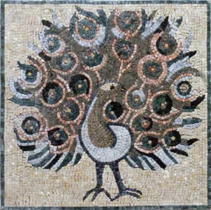 AN96 Peacock with open feathers Mosaic
