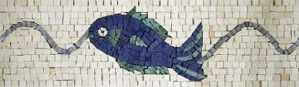 BD19 Blue fish on white background border Mosaic