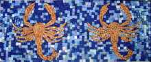 Orange Crabs on Blue-dotted bkgrnd Border Mosaic