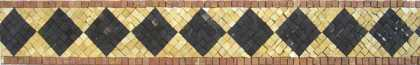 Black Diamonds on Gold bkgrnd Border Mosaic
