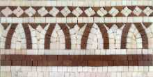 BD307 Brick & white geometric shapes border Mosaic