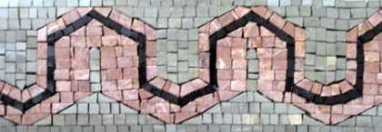 BD58 salmon pink and grey border Mosaic