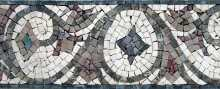 Grey on White Artistic Floral Border Mosaic