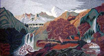 CR100 Beautiful waterfalls and mountains scene Mosaic
