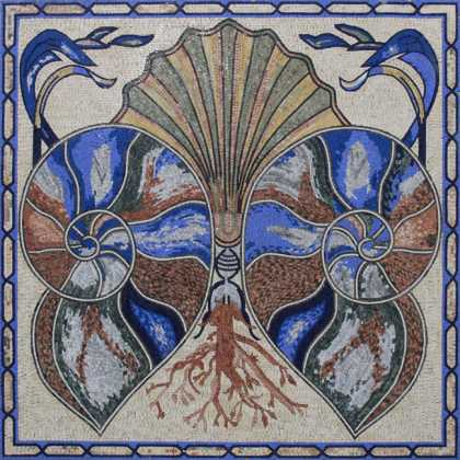 CR1086 Exquisite Blue Symmetrical Seashell  Mosaic