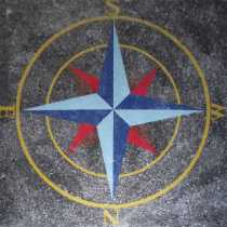 CR1112 Red And Blue Nautical Compass Floor Art