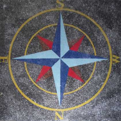 CR1112 Red And Blue Nautical Compass Floor Art  Mosaic
