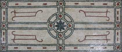 CR1266 Centered Flower Motif Floor Rug Home  Mosaic
