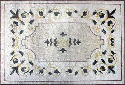 CR144 Black White & Gold Floral Design Floor  Mosaic