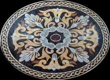 CR153 Colorful Oval Floral Design on Black  Mosaic