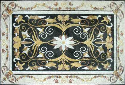 CR175 Elegant black gold & white floral Mosaic