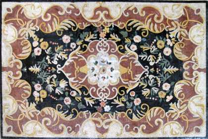 CR189 Colorful Floral Design on White Floor Mosaic