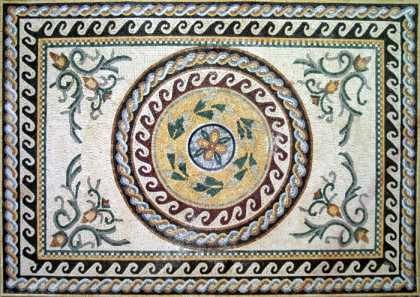 CR19 Roman leaves & wave borders Mosaic