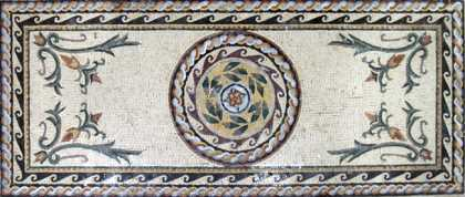 CR197 Roman leaves & flowers carpet Mosaic