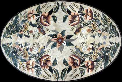 CR203 Oval beautiful floral art Mosaic
