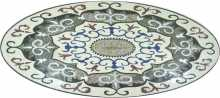 Marble Floor Medallion Oval Flowers  Mosaic