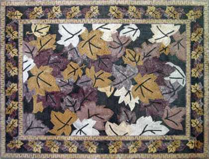 CR21 Purple gold & white automn leaves marble mosaic