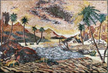 CR226 Desert Oasis with Palm Trees Floor Mosaic