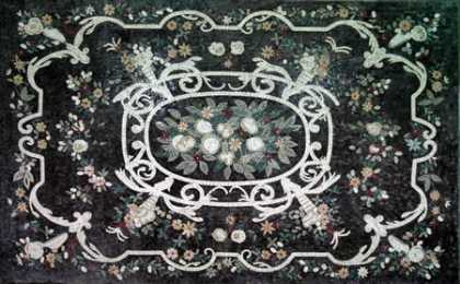 CR23 Black & grey beautiful floral art Mosaic