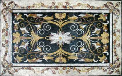 CR238 Elegant black gold & white floral Mosaic