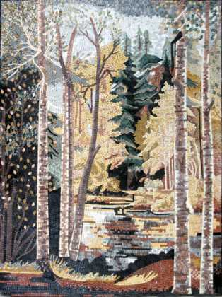 CR239 Autumn scene forest mosaic marble
