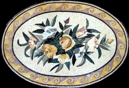 CR240 Oval pastel flower bouquet rug Mosaic